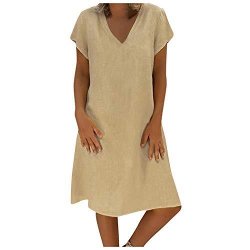 Hosamtel Women Summer T-Shirt Dress Short Sleeve Solid V-Neck Plus Size Cotton Linen Loose Casual Beach Cover-up Dress Khaki ()