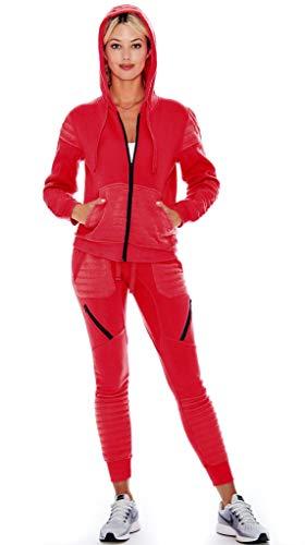 (9 Crowns Womens Slim FIt Moto Tracksuit Hoodie Sweat Pants Set-Red-Large)