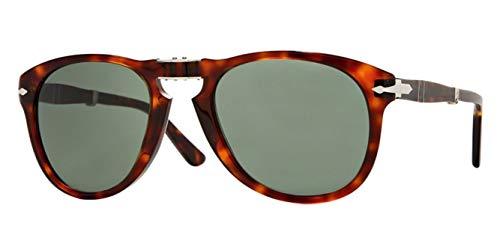 Persol PO0714 Sunglasses 24/31 Folding Havana/Crystal Green Lens ()