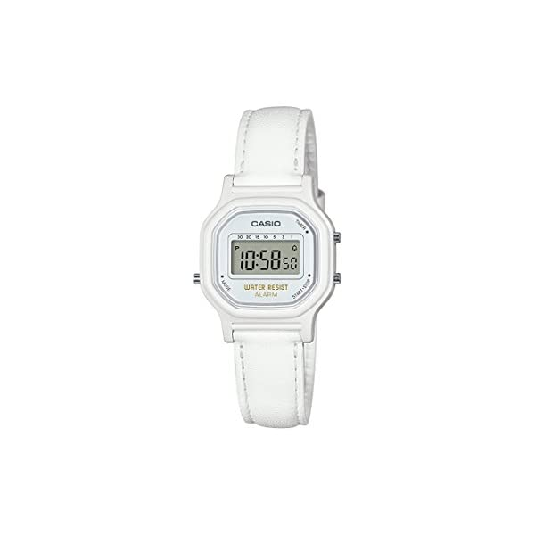 Casio Women's Classic Quartz Watch with Leather-Synthetic Strap, White, 14.8...