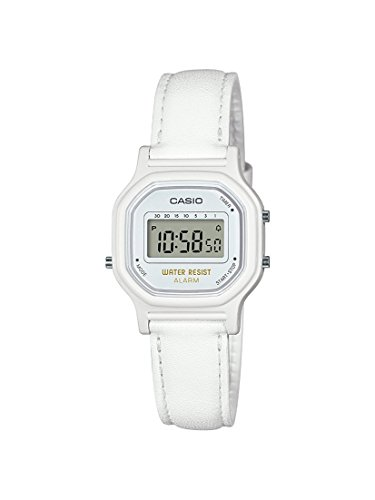 - Casio Women's Classic Quartz Watch with Leather-Synthetic Strap, White, 14.8 (Model: LA-11WL-7ACF)