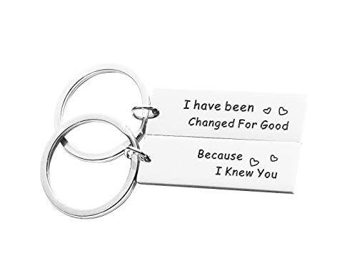 Eilygen Best Friend Gift Best Friend Keychain Set Stainless Steel Friendship Jewelry Friendship Gifts (Because I Knew You, I Have Been Changed for Good)