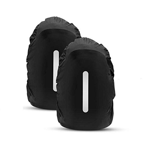 AGPTEK 2-Pack Nylon Waterproof Backpack Rain Cover with 2 Storage Bags, Reflective Stripe Design for Hiking/Camping/Traveling/Outdoor Activities,Size M:26-40L Black