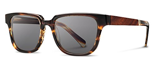 Shwood - Prescott Acetate, Tastefully Bold, Tortoise /Mahogany Burl, Grey - Best Shape Oval For Sunglasses Face