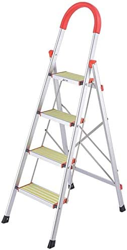 NOOYC Escalera de Mano, 4 Paso Escalera Plegable Antideslizantes Fuerte Estabilidad con empuñadura Conveniente Escalera Alta Multifuncional Escalera telescópica para Home Office Loft,1.5m: Amazon.es: Hogar