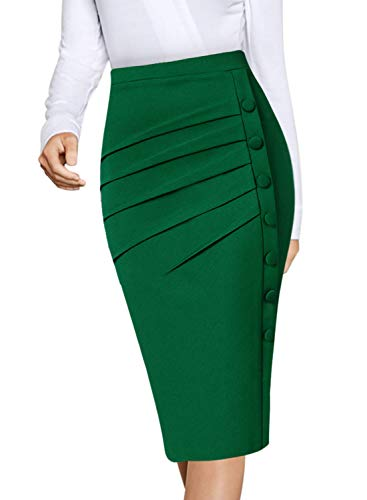 VFSHOW Womens Green Pleated Ruched Buttons High Waist Wear to Work Business Office Pencil Skirt 2668 GRN S
