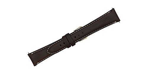 20mm Brown Soft Genuine Leather Replacement Watch Strap with Contrast Stitch MADE IN USA FBA131