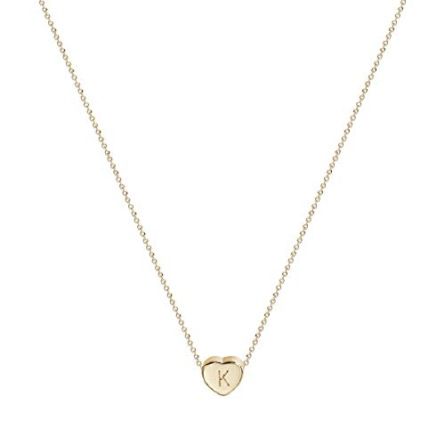 Initial Heart Necklace, 14K Gold Plated Small Dainty Lovely Heart Pendant Necklace Personalized Tiny Letter K Necklace for Girls (K-Gold) -