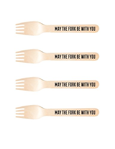 Perfect Stix-Sucre Shop May fork-20 Wooden Cutlery forks with Print (Pack of -