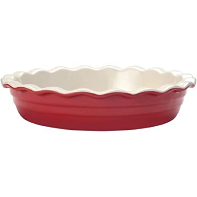 Durable And Stylish Oven To Table Glazed Red Ceramic Deep Pie Dish By Farberware Baker's Advantage