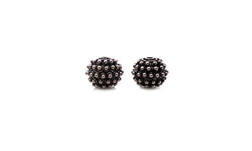 Two 925 Sterling Silver Bali Granulation Beads, 12mm, 5.35grams