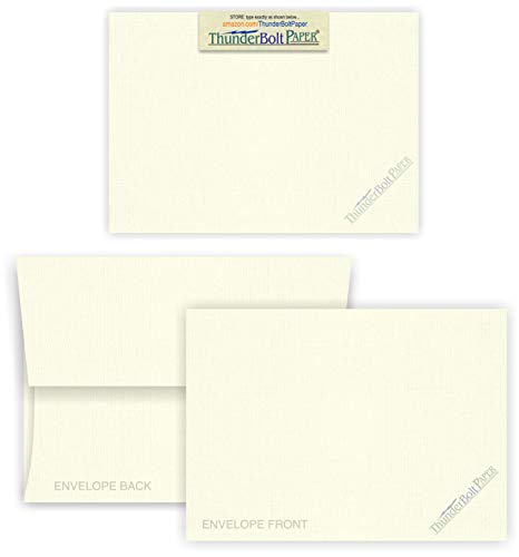 5X7 Blank Cards with A-7 Envelopes - Natural White Linen - 50 Sets by Thunderbolt Paper - Textured Finish - Invitations, Greeting, Thank Yous, Notes, Holidays, Weddings, Birthdays - 80# ()