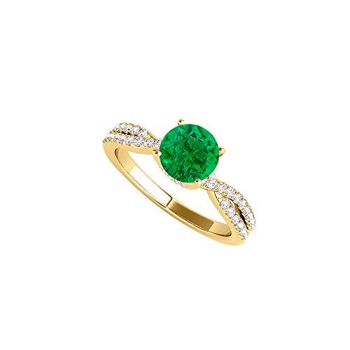 Criss Cross CZ Emerald Ring in 18K Yellow Gold Vermeil