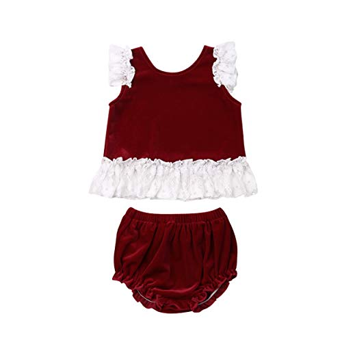 - Infant Baby Girls Lace Sleeve Velvet Floral Vest TopsPants Shorts Briefs Outfits Set (Purplish red, 12-18m)