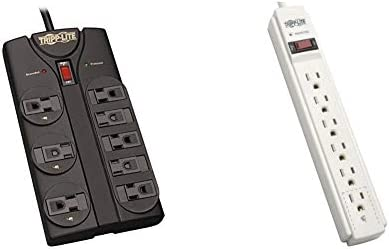 Tripp Lite 8 Outlet Surge Protector Power Strip, 8ft Cord Right Angle Plug, Black, Lifetime Insurance TLP808B 6 Outlet Surge Protector Power Strip 6ft Cord 790 Joules LED Insurance TLP606