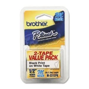 """BROTHER INT L (SUPPLIES) Brother Adhesive Non-laminated Labelmaker Label. 2PK 1/2 BLACK ON WHITE M231 P-TOUCH TAPE FOR M BASED MACHINES. 0.5"""" Width x 26ft Length - 2 / Pack - Rectangle - White"""