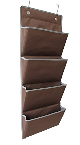 Microtimes Hanging Wall Organizer Wall Mount/Over The Door Office Supplies Storage Mail Organizer for Notebooks,Planners,File Folders (4 Pockets, Coffee)