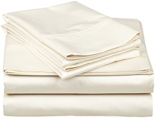 TheSignature Luxury 800-Thread-Count 100% Egyptian Cotton Bed Sheets, 5-Pc Split California King Ivory Sheet Set, Single Ply Long-Staple Yarns, Sateen Weave, Fits Mattress Upto 21'' Deep Pocket