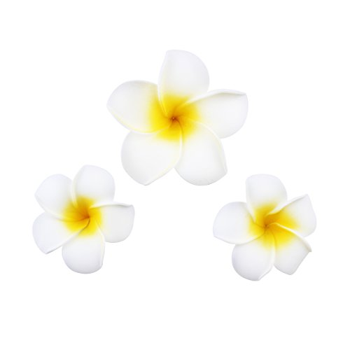 Women's Fashion 3 Pcs Hawaiian White Plumeria Flower Foam Hair Clip Balaclavas for Beach