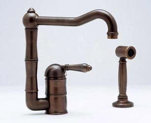 Rohl A3608LMWSPN, Rohl Kitchen Faucets, Single Lever Faucet With Handspray - Polished Nickel ()