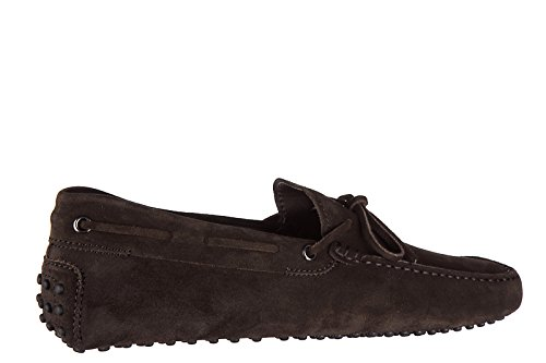 Tods Mens Suede Loafers Moccasins Laccetto Occhielli Gommini Brown