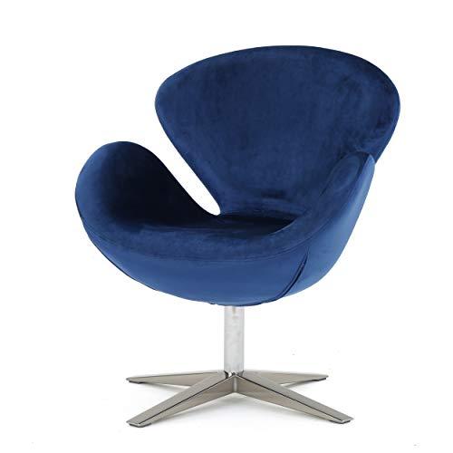 Christopher Knight Home 300768 Manhatten New Velvet Modern Swivel Chair (Navy Blue),