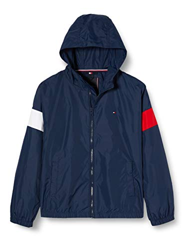 Tommy Hilfiger Essential Jacket met capuchon voor jongens, Blauw (Twilight Navy 654-860 C87), Eén maat