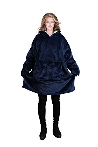Reepow Hoodie Blanket, Oversized Sherpa and Flannel Sweatshirt with Large Front Pocket, Different Ultra Soft Texture, Warm Comfortable, for Men, Women, Teen Kids-Gift Box,Lovers Match(Navy Blue)