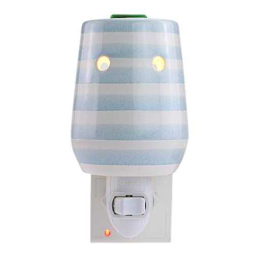 StarMoon Plug in Wax Melter for Home Dcor, Pluggable Home Fragrance Diffuser, Translucent, No Flame, with One More Bulb, Blue Stripe