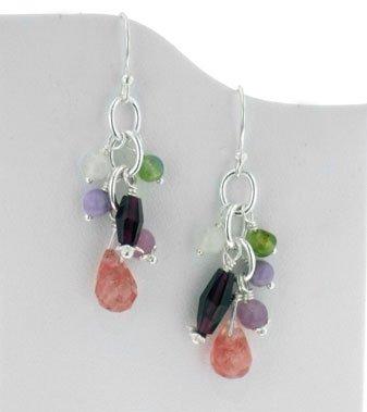 (Sterling Silver Gemstone Beaded Hook Earrings with Cherry Quartz Briolette Drops )
