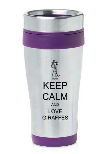 Purple 16oz Insulated Stainless Steel Travel Mug Z423 Keep Calm and Love ()