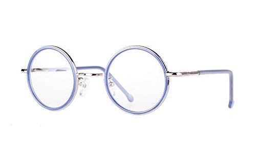 Agstum Retro Round Spring Hinge Optical Eyeglasses Frame 45mm (BlueSilver)