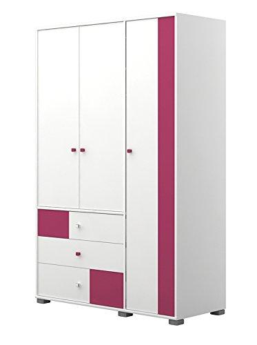 Kinderzimmer - Drehtürenschrank / Kleiderschrank Lena 03, Farbe: Weiß / Pink - Abmessungen: 198 x 126 x 56 cm (H x B x T)