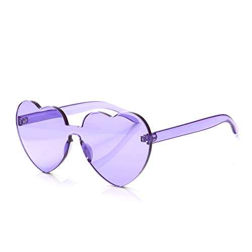 OLINOWL Heart Oversized Rimless Sunglasses One Piece Heart Shape Eyewear Colored Sunglasses for Women