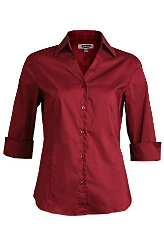 Corporate Executive Offices - Edwards Ladies' Tailored V-Neck Stretch Blouse 3/4 Sleeve Small Burgundy