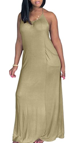 Long Casual Dress Jaycargogo Strap Pocket Maxi Womens Spaghetti Loose with Khaki Baggy YwxST8xq