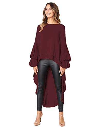 (WISEFIN Women's Lotus Leaf Round Neck Tops High Low Hem Asymmetric Tops Blouse Shirt Dress Wine)