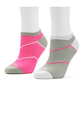 Fila Women's Set Of 2 Aerator Low Cut Wick Dry Athletic Socks Pink/Gray/White