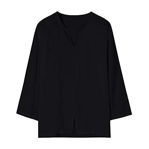 Fastbot Men Shirts Short Sleeve Polo Shirt Slim fit Baggy Cotton Linen Solid Color 3/4 Sleeve V Neck Tops Blouses