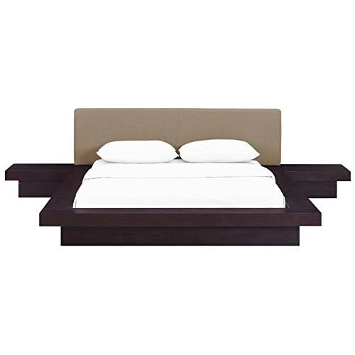 King Suite Queen Bedroom - Modern Contemporary Urban Design Three PCS Queen Size Bedroom Bed Set, Brown, Fabric Wood