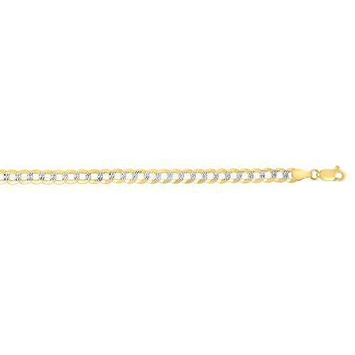 BH 5 Star Jewelry 14kt Gold Yellow Finish Diamond Cut Comfort Pave Curb Chain with Lobster Clasp (24, 5.7 mm) ()