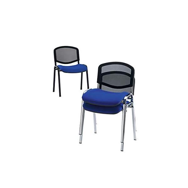 Siège visiteur empilable – dossier résille, piétement noir – habillage gris, lot de 2 – Chaise de réunion Chaise empilable Chaise visiteur Chaise visiteurs Chaises de réunion Chaises empilables
