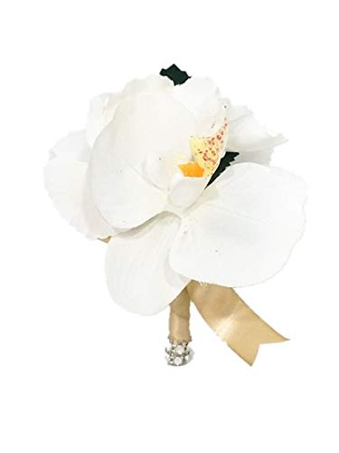 SweetHomeDeco Real Touch Artificial Orchid Hydrangea Wedding/Party Boutonniere Wrapped w/Ribbon Rhinestones (White Orchid-Gold Ribbon) (Orchid Boutonniere White)