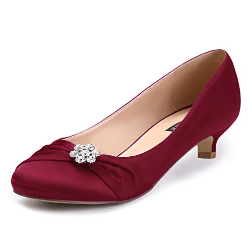 ERIJUNOR E0110 Women Closed Toe Comfort Kitten Heels Rhinestones Satin Wedding Evening Dress Shoes Burgundy Size 8