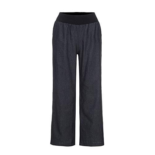 (CCatyam Pants for Women, Solid High Waist Elastic Denim Wide Leg Yoga Loose Long Trouser Black )
