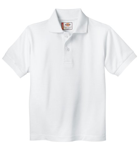 Dickies Little Boys' Short Sleeve Pique Polo Shirt, White, 2T