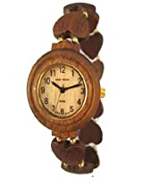 Tense Wood Watch Ladies Solid Wood Heart Band Stretch Hypo-Allergenic Watch L7007S from Tense