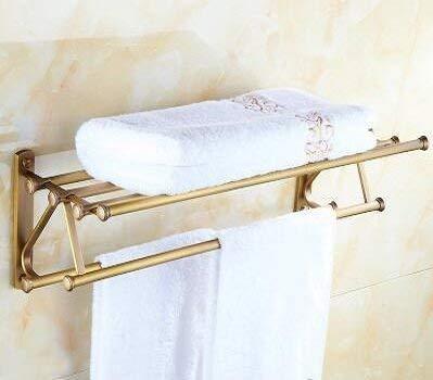 1 Towel Rack 2 Types 55Cm Brass Brushed Wall Bathroom Shelves, Fasion Towel Rack Shelf with Hooks Wall Mounted, Copper Dual Tier Towel Rack,01 Bathroom Towel Shelf (color   02)