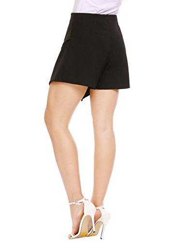 ANGVNS Women's Asymetric Hem Tulip Plain High Waist Skort