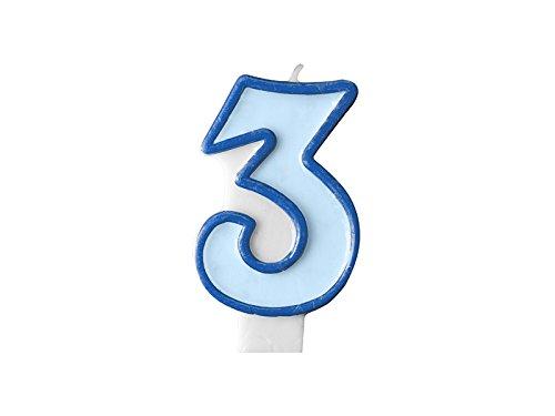 Geburtstags- Kerze Zahl 3 blau Jungen PartyDeco